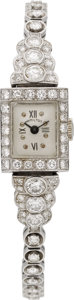 Estate Jewelry:Watches, Art Deco Hamilton Lady's Diamond, Platinum Wristwatch. ...