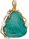 Estate Jewelry:Pendants and Lockets, Turquoise, Diamond, Freshwater Cultured Pearl, Gold Pendant. ...