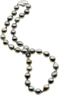 Estate Jewelry:Necklaces, Baroque South Sea Cultured Pearl, Silver Necklace. ...