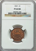 Proof Two Cent Pieces: , 1869 2C PR64 Red and Brown NGC. NGC Census: (46/79). PCGSPopulation (91/71). Mintage: 600. Numismedia Wsl. Price forprobl...