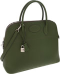 Luxury Accessories:Bags, Hermes 37cm Vert Feuillage Fjord Leather Sellier Bolide Bag withPalladium Hardware. ...