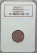 Indian Cents, 1869/69 1C MS64 Red and Brown NGC. Snow-3d, FS-301....