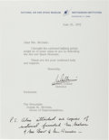 Autographs:Celebrities, Michael Collins Typed Letter Signed with Handwritten Postscript....