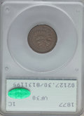 Indian Cents, 1877 1C VF30 PCGS. CAC....