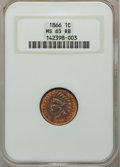 Indian Cents, 1866 1C MS65 Red and Brown NGC. Snow-5a....