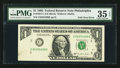 Error Notes:Foldovers, Fr. 1921-C $1 1995 Federal Reserve Note. PMG Choice Very Fine 35EPQ.. ...