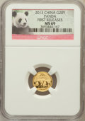 China:People's Republic of China, 2013 China Panda Gold 20 Yuan (1/20th oz), First Releases MS69 NGC. PCGS Population (15/165)....
