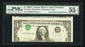 Error Notes:Inverted Third Printings, Fr. 1915-D $1 1988A Federal Reserve Note. PMG About Uncirculated 55EPQ.. ...