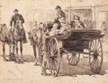 Mainstream Illustration, ALLEN CARTER REDWOOD (American, 1844-1922). Boarding theCarriage, 1889. Watercolor on paper laid on board. 9.25 x11.75...