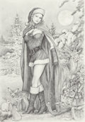 Pin-up and Glamour Art, JOAN PELAEZ (American, 21st Century). Santa's Helper. Pencilon paper. 14 x 10 in.. Signed lower right. ...