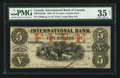 Canadian Currency: , Toronto, CW - The International Bank of Canada $5 Sep. 15, 1858 Ch.# 380-10-10-16a. ...
