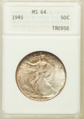 Walking Liberty Half Dollars, 1945 50C MS64 ANACS. NGC Census: (3893/5906). PCGS Population(6206/7810). Mintage: 31,502,000. Numismedia Wsl. Price for p...