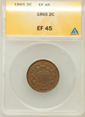 Two Cent Pieces: , 1865 2C XF45 ANACS. NGC Census: (23/1017). PCGS Population(45/773). Mintage: 13,640,000. Numismedia Wsl. Price for problem...