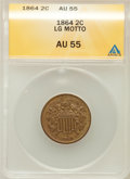Two Cent Pieces: , 1864 2C Large Motto AU55 ANACS. NGC Census: (49/1431). PCGSPopulation (93/947). Mintage: 19,847,500. Numismedia Wsl. Price...