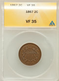 Two Cent Pieces: , 1867 2C VF35 ANACS. NGC Census: (4/253). PCGS Population (6/210).Mintage: 2,938,750. Numismedia Wsl. Price for problem fre...