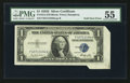 Error Notes:Attached Tabs, Fr. 1614 $1 1935E Silver Certificate. PMG About Uncirculated 55.....
