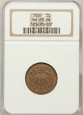 Two Cent Pieces: , 1868 2C MS63 Brown NGC. NGC Census: (38/99). PCGS Population(47/36). Mintage: 2,803,750. Numismedia Wsl. Price for problem...