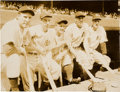 Baseball Collectibles:Photos, 1938 New York Yankees News Photograph with Gehrig, DiMaggio....