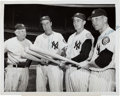 Baseball Collectibles:Photos, 1952 Mickey Mantle & Teammates Vintage Signed NewsPhotograph....