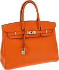 Luxury Accessories:Bags, Hermes 35cm Orange H Clemence Leather Birkin Bag with PalladiumHardware. ...