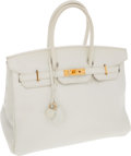 Luxury Accessories:Bags, Hermes 35cm White Clemence Leather Birkin Bag with Gold Hardware....