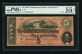 Confederate Notes:1864 Issues, Dark Red Variety T69 $5 1864 PF-5 Cr. 560.. ...