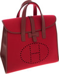 Luxury Accessories:Bags, Hermes Rouge H Calf Box Leather & Wool Feudou Travel Bag. ...