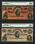Confederate Notes:1864 Issues, T65 $100 1864 PF-3 Cr. 494 Two Examples.. ... (Total: 2 notes)