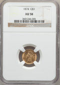 Gold Dollars: , 1874 G$1 AU58 NGC. NGC Census: (187/3379). PCGS Population(267/2740). Mintage: 198,820. Numismedia Wsl. Price for problem ...
