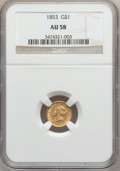 Gold Dollars: , 1853 G$1 AU58 NGC. NGC Census: (1503/8016). PCGS Population(1245/3707). Mintage: 4,076,051. Numismedia Wsl. Price for prob...