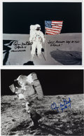 Autographs:Celebrities, Edgar Mitchell: Two Apollo 14 Lunar Surface Photos Signed. ... (Total: 2 Items)