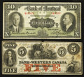 Canadian Currency: , Clifton, CW - The Bank of Western Canada $5 Sep. 20, 1859 Ch. #795-10-16; Montreal, PQ - The Bank of Montreal $10 Jan. ... (Total:2 notes)