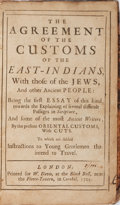 Books:World History, M. De La Crequiniere. John Toland [translator]. The Agreement of the Customs of the East-Indians, with Those of the Jews...