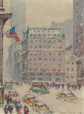 American:Regional, GUY CARLETON WIGGINS (American, 1883-1962). Fifth Avenue inWinter, circa late 1940s. Oil on canvas board. 12 x 9 inches...