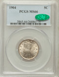 Liberty Nickels, 1904 5C MS66 PCGS. CAC....