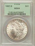 Morgan Dollars: , 1887-S $1 MS64 PCGS. PCGS Population (1724/343). NGC Census:(951/172). Mintage: 1,771,000. Numismedia Wsl. Price for probl...