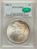 Morgan Dollars: , 1881-S $1 MS67 PCGS. CAC. PCGS Population (1563/98). NGC Census:(4016/196). Mintage: 12,760,000. Numismedia Wsl. Price for...