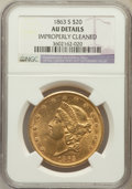 Liberty Double Eagles: , 1863-S $20 -- Improperly Cleaned -- NGC Details. AU. NGC Census:(91/517). PCGS Population (52/244). Mintage: 966,570. Numi...