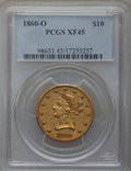 Liberty Eagles, 1860-O $10 XF45 PCGS. Variety 2....