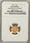 Gold Dollars: , 1857 G$1 -- Improperly Cleaned -- NGC Details. Unc. NGC Census:(28/705). PCGS Population (18/362). Mintage: 774,789. Numis...