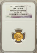 Commemorative Gold: , 1922 G$1 Grant With Star -- Improperly Cleaned -- NGC Details. Unc.NGC Census: (1/1247). PCGS Population (7/2180). Mintage...