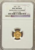 Gold Dollars: , 1851 G$1 -- Improperly Cleaned -- NGC Details. Unc. NGC Census:(91/3246). PCGS Population (74/1659). Mintage: 3,317,671. N...