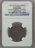 Colonials, 1787 New Jersey Copper, Small Planchet, Plain Shield --Environmental Damage -- NGC Details. VF. Maris 43-d, W-5225,R.1....