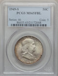 Franklin Half Dollars: , 1949-S 50C MS65 Full Bell Lines PCGS. PCGS Population (497/146).NGC Census: (110/19). Numismedia Wsl. Price for problem f...