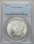 Morgan Dollars: , 1921-S $1 MS65 PCGS. PCGS Population (754/31). NGC Census:(746/54). Mintage: 21,695,000. Numismedia Wsl. Price for problem...