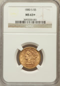 Liberty Half Eagles: , 1880-S $5 MS63+ NGC. NGC Census: (279/137). PCGS Population(250/80). Mintage: 1,348,900. Numismedia Wsl. Price for problem...