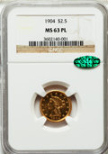 Liberty Quarter Eagles: , 1904 $2 1/2 MS63 Prooflike NGC. CAC. NGC Census: (4/3). Mintage:160,700. ...