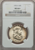 Franklin Half Dollars: , 1953-S 50C MS66+ NGC. NGC Census: (508/8). PCGS Population (548/2).Mintage: 4,148,000. Numismedia Wsl. Price for problem f...