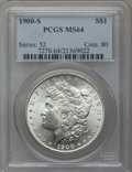 Morgan Dollars: , 1900-S $1 MS64 PCGS. PCGS Population (1563/598). NGC Census:(884/214). Mintage: 3,540,000. Numismedia Wsl. Price for probl...