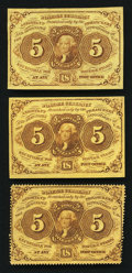 Fractional Currency:First Issue, Three 5¢ First Issue Notes Choice About New.. ... (Total: 3 notes)